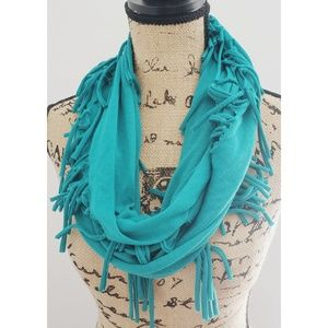 NWT Wet Seal Turquoise Fringed Infinity Scarf